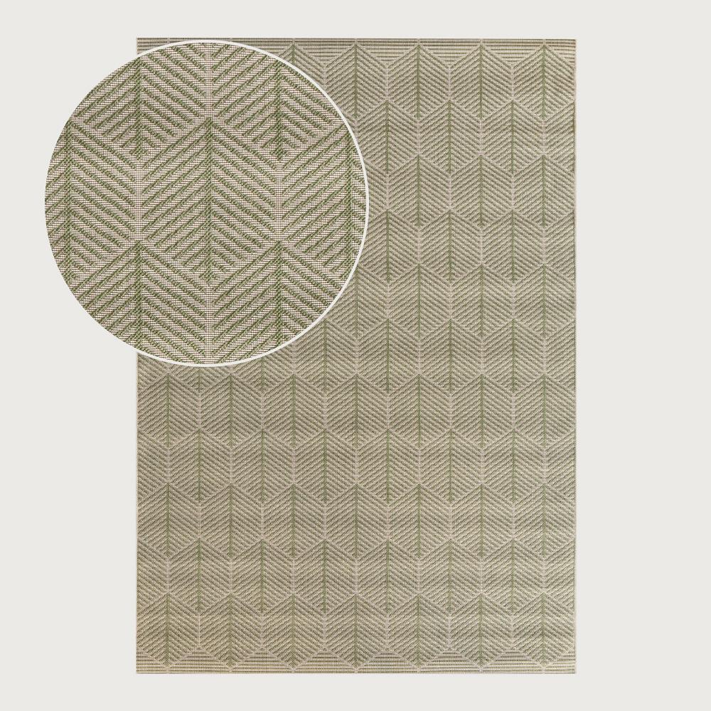 Signature Rugs Karaka Indoor/Outdoor Floor Rug - 160 x 230 cm, Geo Leaf Green