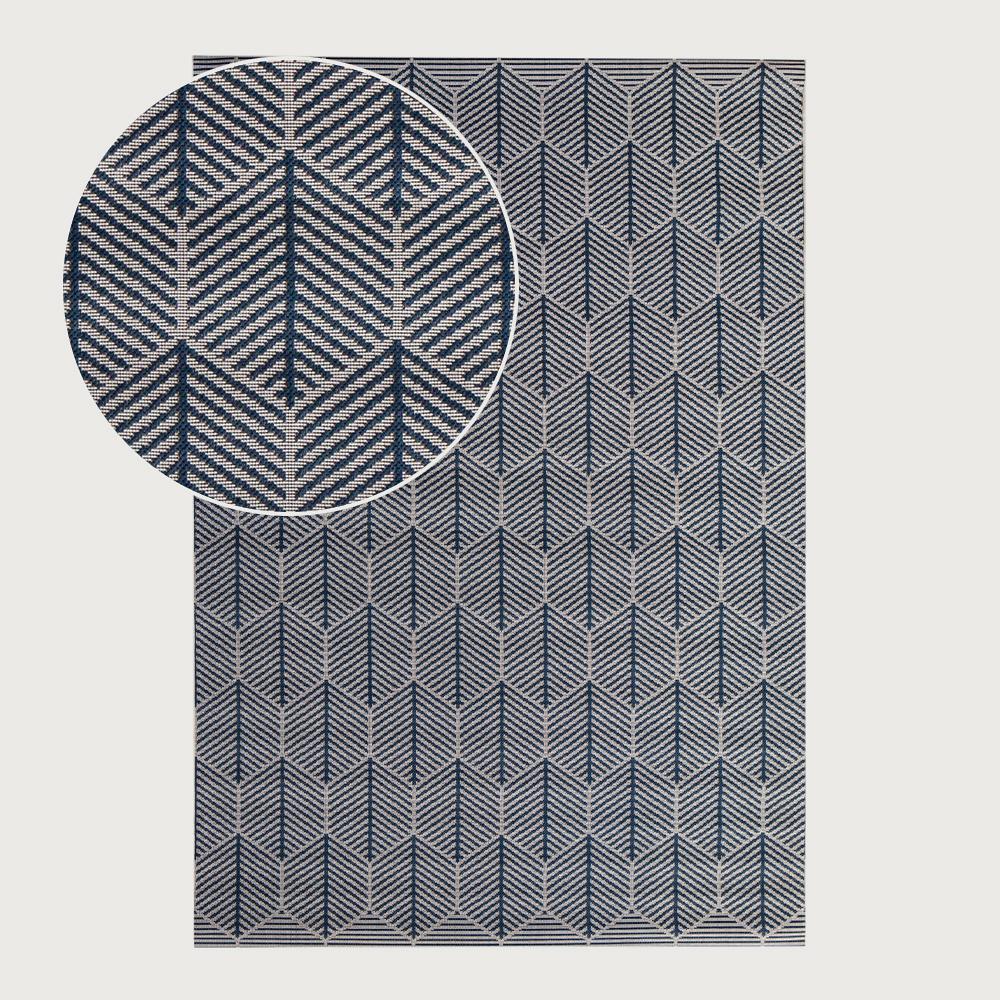 Signature Rugs Karaka Indoor/Outdoor Floor Rug - 200 x 290 cm, Geo Leaf Navy