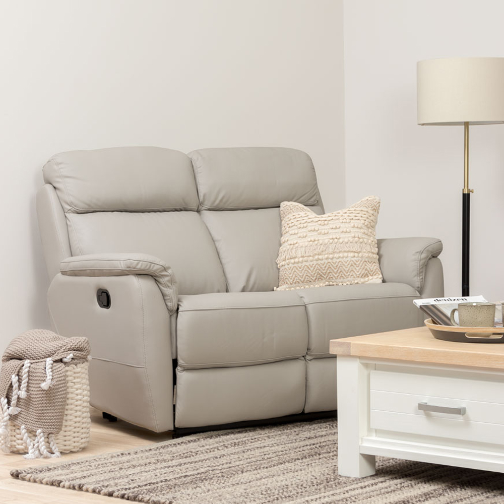 Kayley 2 Seater Leather Recliner, Pebble