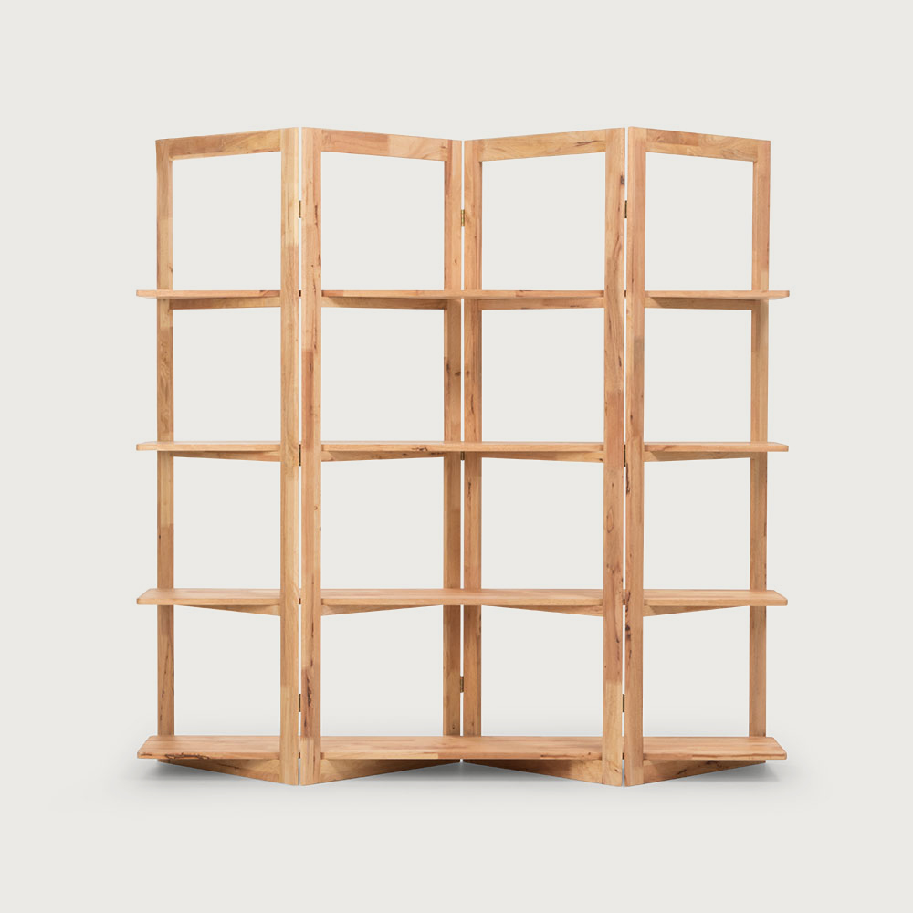 Woodwall Room Divider With Shelves, Light