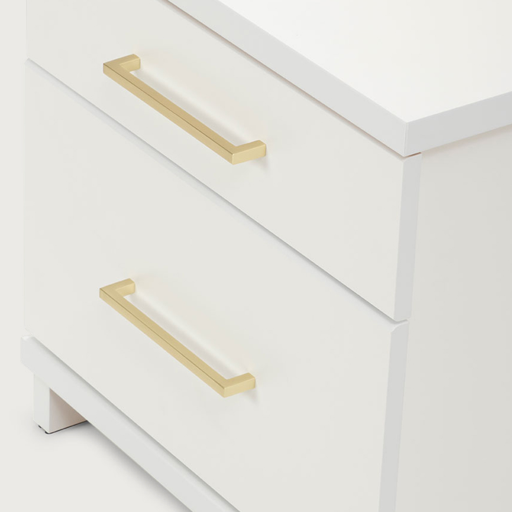 Franz 2 Drawer Bedside, White/Gold
