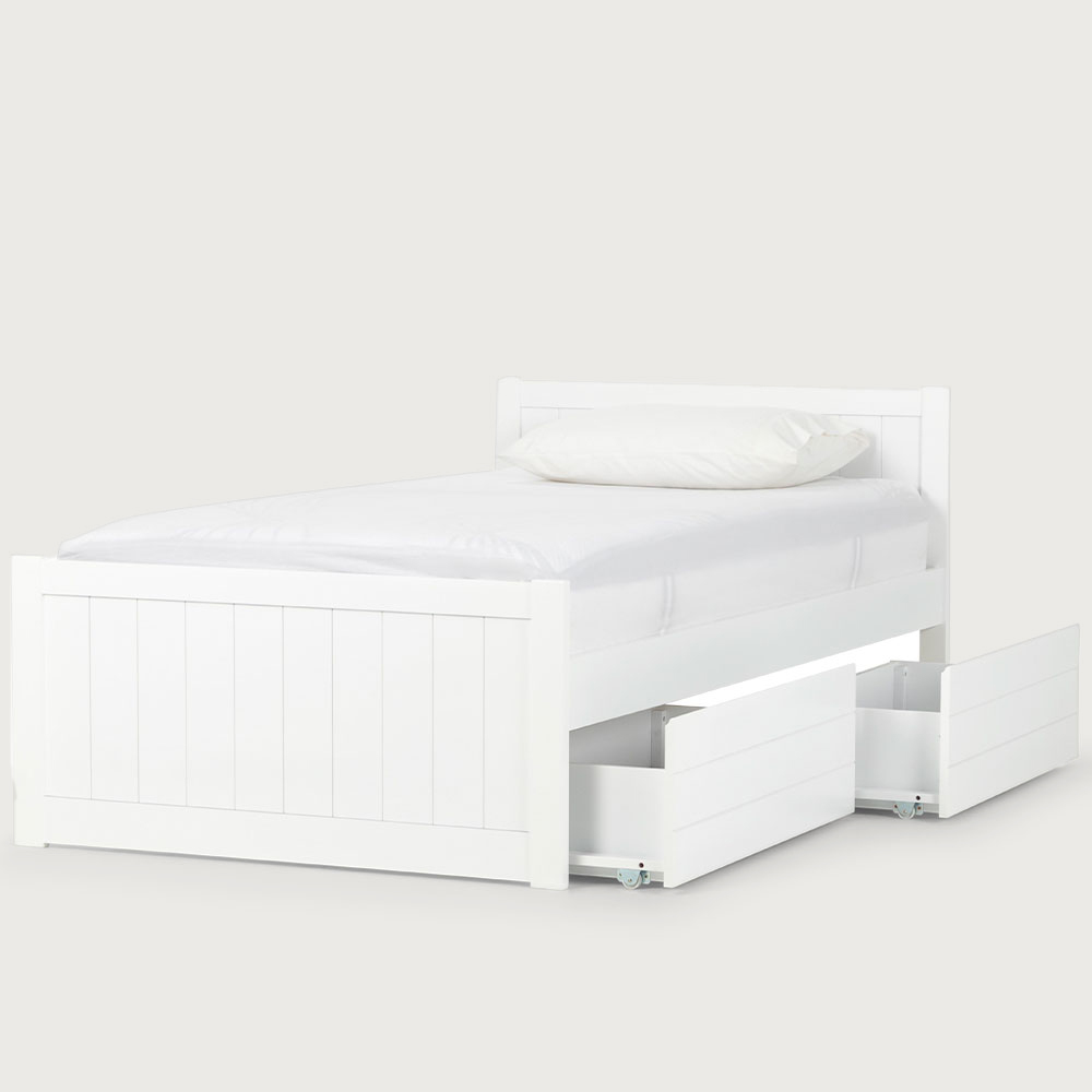 Emerson King Single Bed Frame With Drawers, White