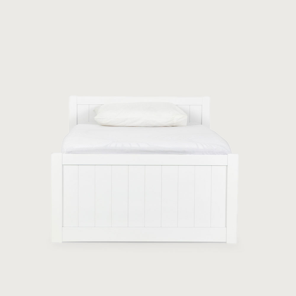 Emerson Single Bed Frame With Drawers, White