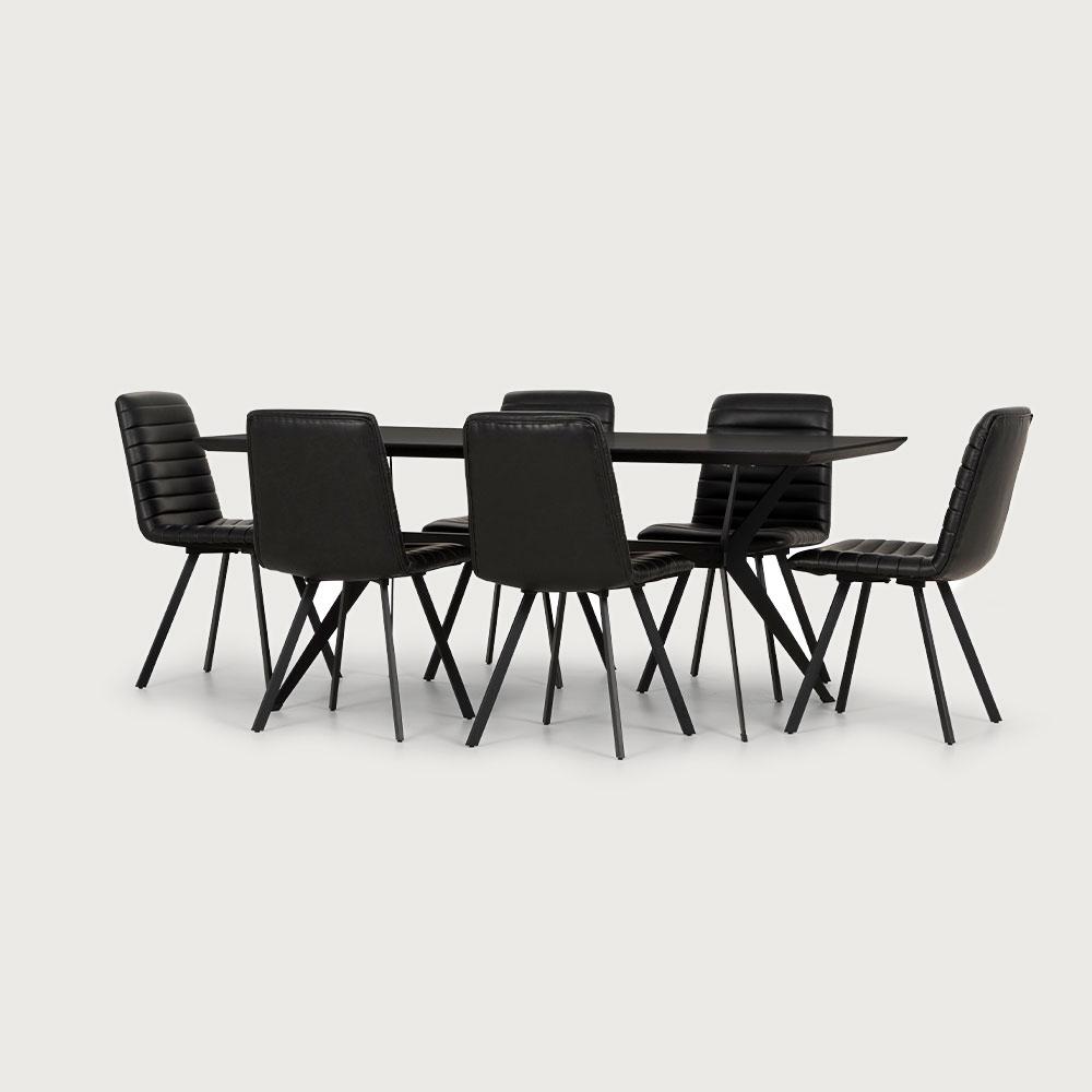 Viva & Watson 7 Piece Dining Set - W180, Black