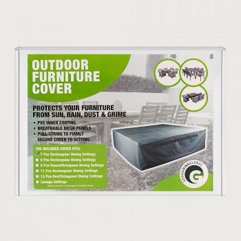 Furniture Cover Rectanglular Outdoor Furniture Cover - 7 Piece, Charcoal