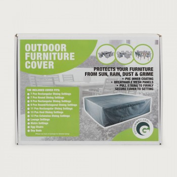 Furniture Cover Oval Outdoor Furniture Cover - 13 Piece, Light Grey