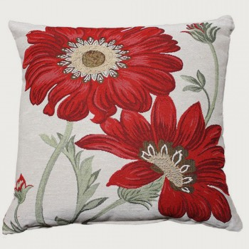 Limon Florid Cushion - Poly Inner, Light Grey/Red