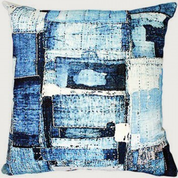 Limon Patchwork Cushion - Poly Inner, Blue/White