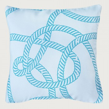 Limon Knotted Rope Outdoor Cushion - Poly Inner, Scuba Blue