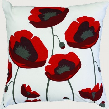 Limon Flanders Field Cushion - Poly Inner , Red/White