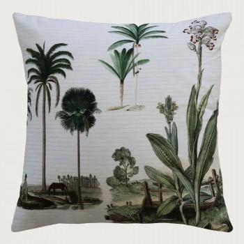 Limon  Caribbean Cushion - Feather Inner, Cream/Green