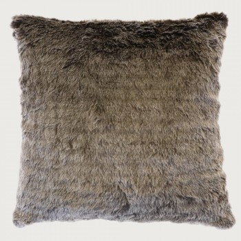 Limon Elmwood Faux Fur Cushion - Poly Inner , Chocolate Frost