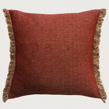 Limon Nathan Cushion - Feather Inner, Burnt Red/Natural