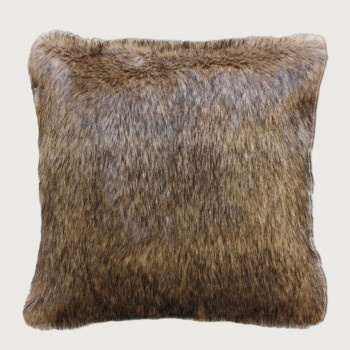 Limon Elmwood Faux Fur Cushion - Feather Inner , Natural